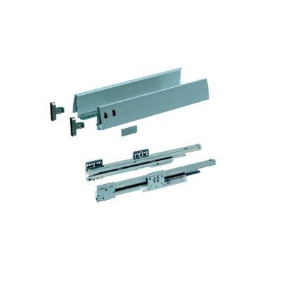 Teljes kihúzású, integrált csillapítású, önbehúzós fiókcsúszók dupla falú, 95 mm magas fémfiókoldallal, frontrögzítővel
