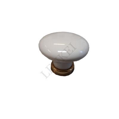 Porcelán gomb fehér-arany